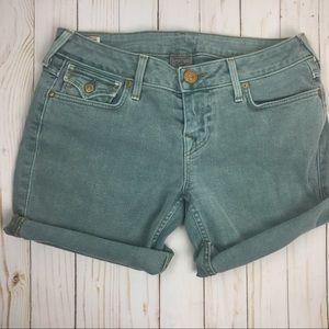 True Religion Blue Cut Off Shorts